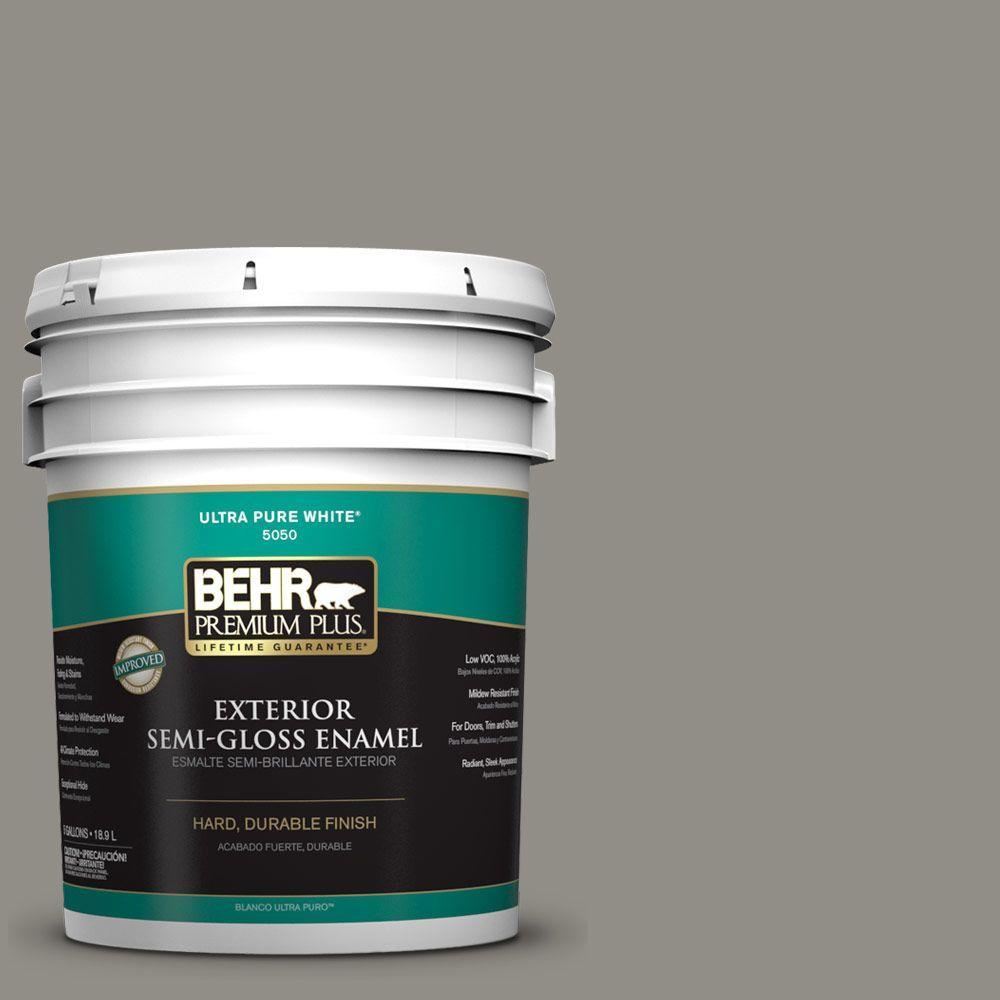 BEHR Premium Plus 5-gal. #T13-17 Timber Town Semi-Gloss Enamel Exterior Paint