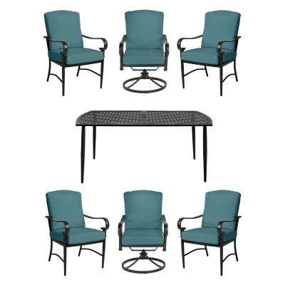 Oak Cliff 7-Piece Brown Steel Outdoor Dining Set w/4 Stationary & 2 Swivel Chairs & CushionGuard Charleston Cushions