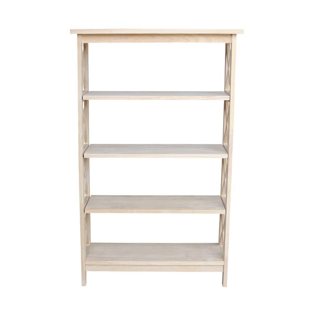 48 in. Unfinished Wood 4-shelf Etagere Bookcase with Adjustable Shelves