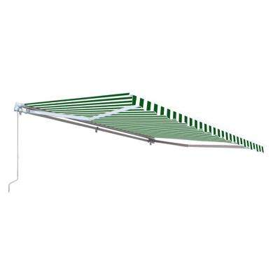 10 ft. Motorized Retractable Awning (96 in. Projection) in Green and White