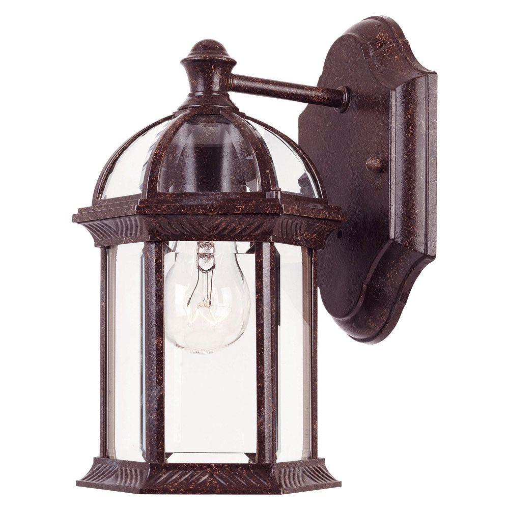 Illumine 1 Light Wall Mount Lantern Rustic Bronze Finish