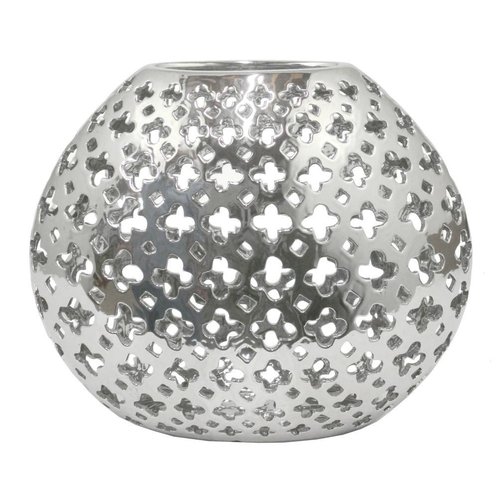 Pierced Silver Ceramic Decorative Vase with Glossy Finish