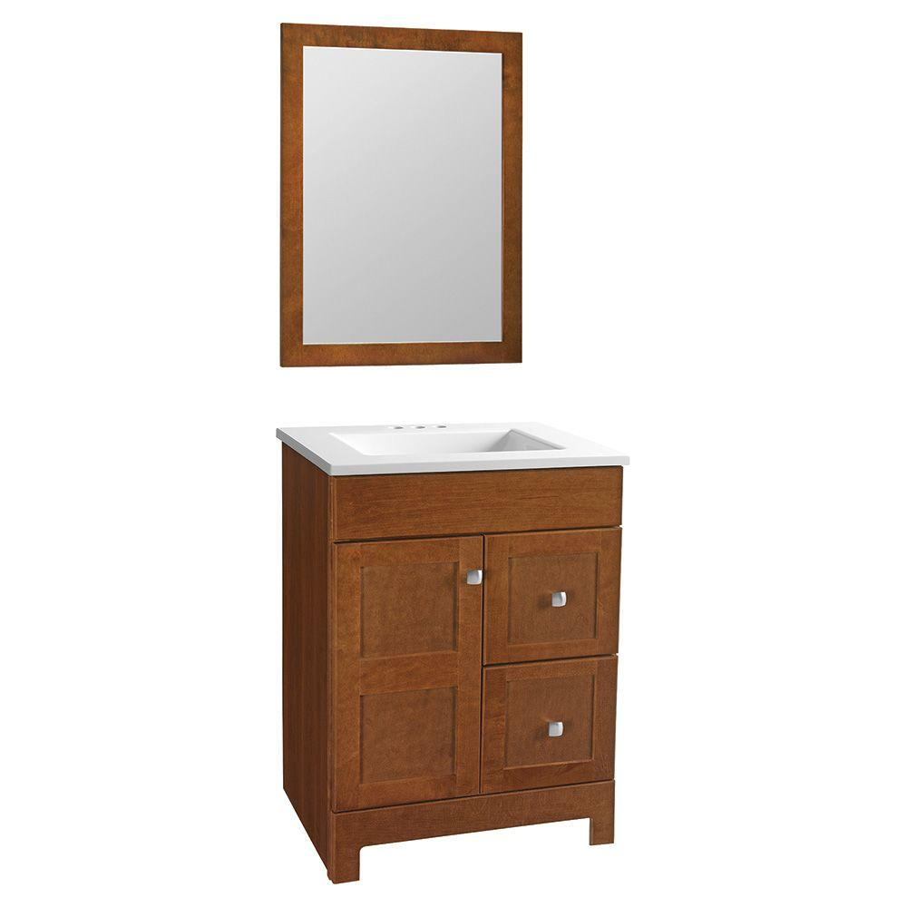 Glacier Bay Artisan 24.5 in. W Bath Vanity in Chestnut with Cultured Marble Vanity Top in White with White Sink and Mirror