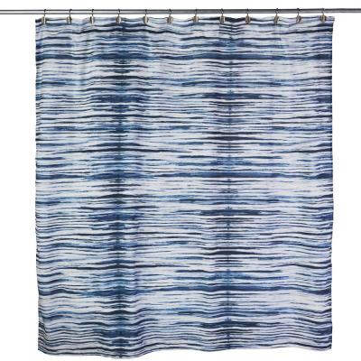Shibori Stripe 72 in. Blue Shower Curtain