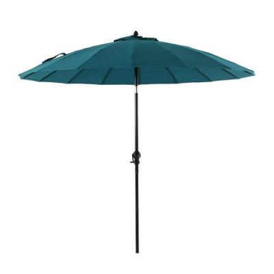 Shanghai 9 ft. Aluminum Market Crank and Tilt Patio Umbrella in Teal