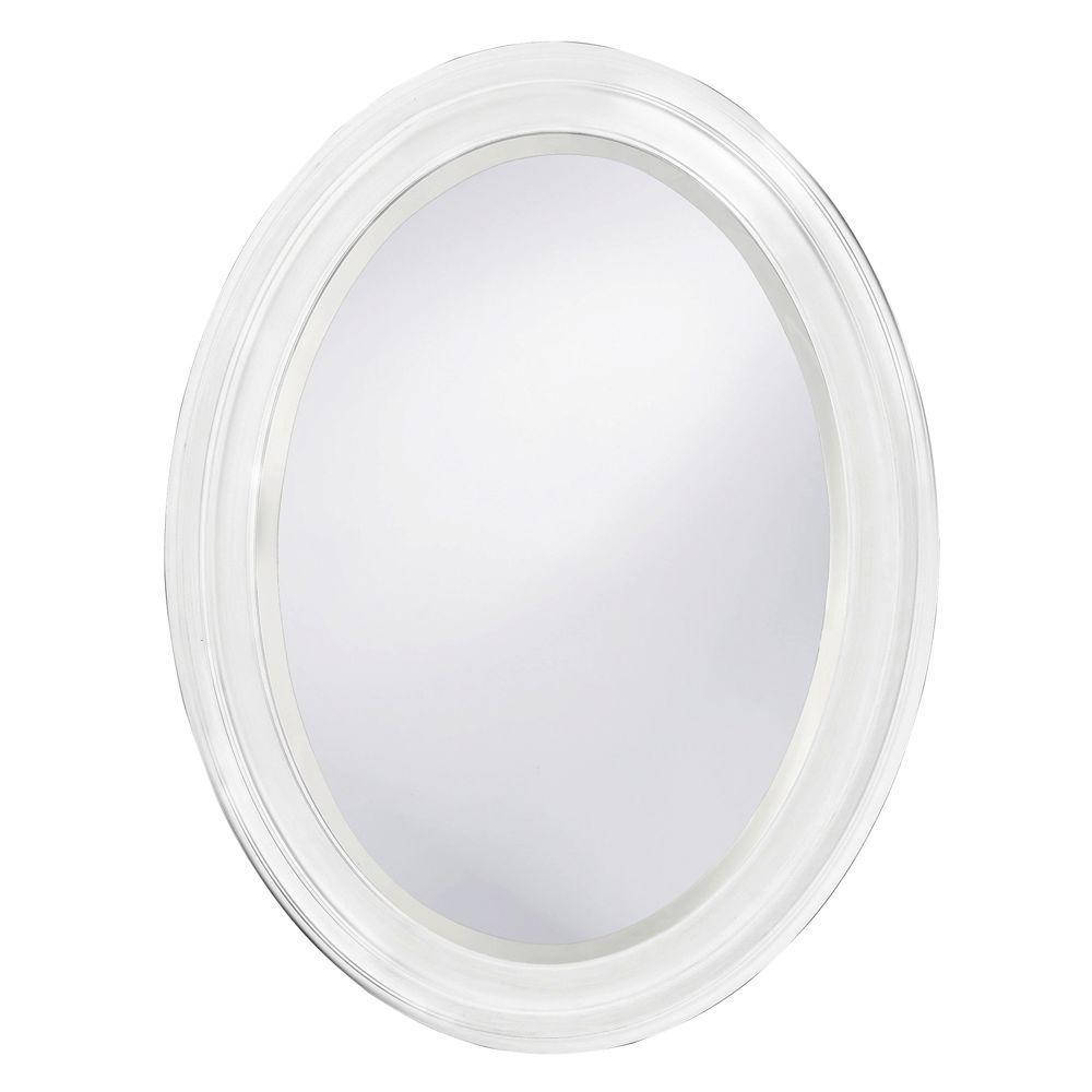 Howard Elliott Collection 25 in. x 33 in. Oval Framed Mirror in Matte Bright White