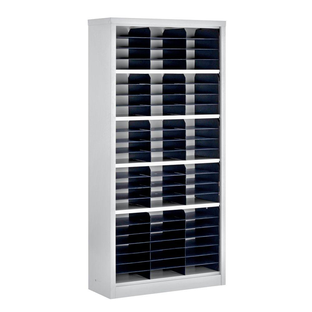 Sandusky 72 in. H x 34.5 in. W x 13 in. D Steel Commercial Literature Organizer Shelving Unit in Gray