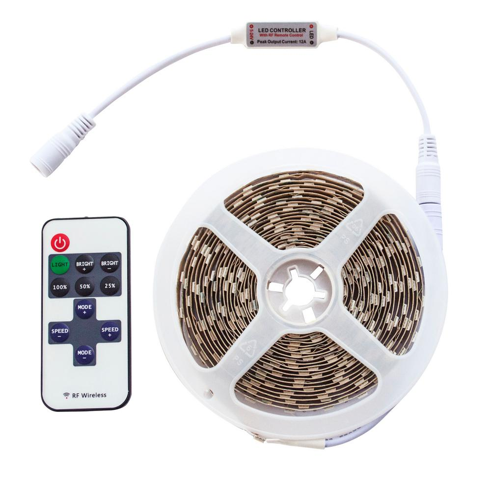 AmeriHome 16 ft. LED Utility Tape Lights with Wireless Remote, White