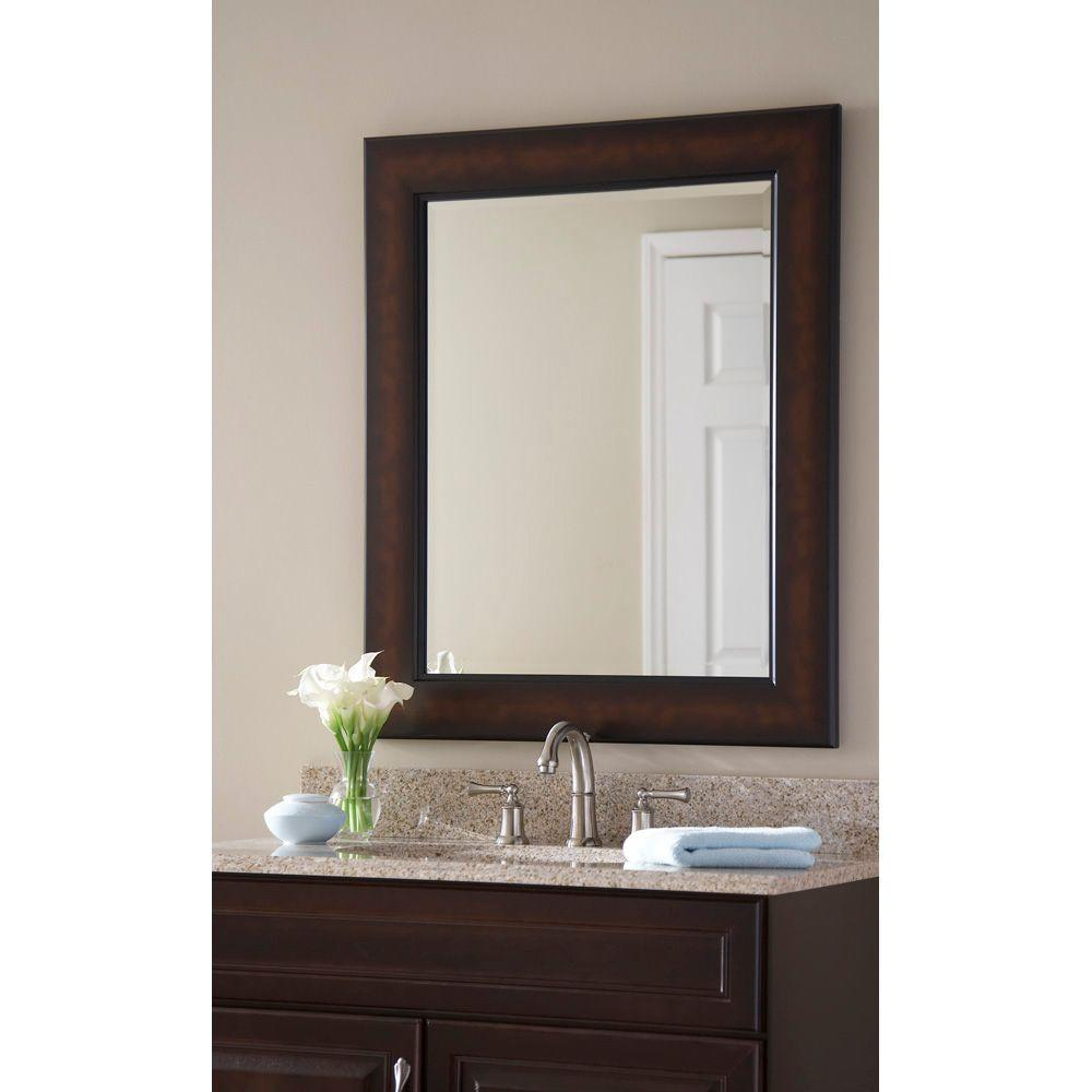 Martha stewart living maracaibo 36 in x 30 in coppered bronze framed wall mirror 71895 the for Bronze framed bathroom mirror