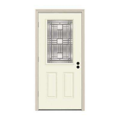 36 in. x 80 in. 1/2 Lite Cordova Vanilla Painted Steel Prehung Right-Hand Outswing Front Door w/Brickmould
