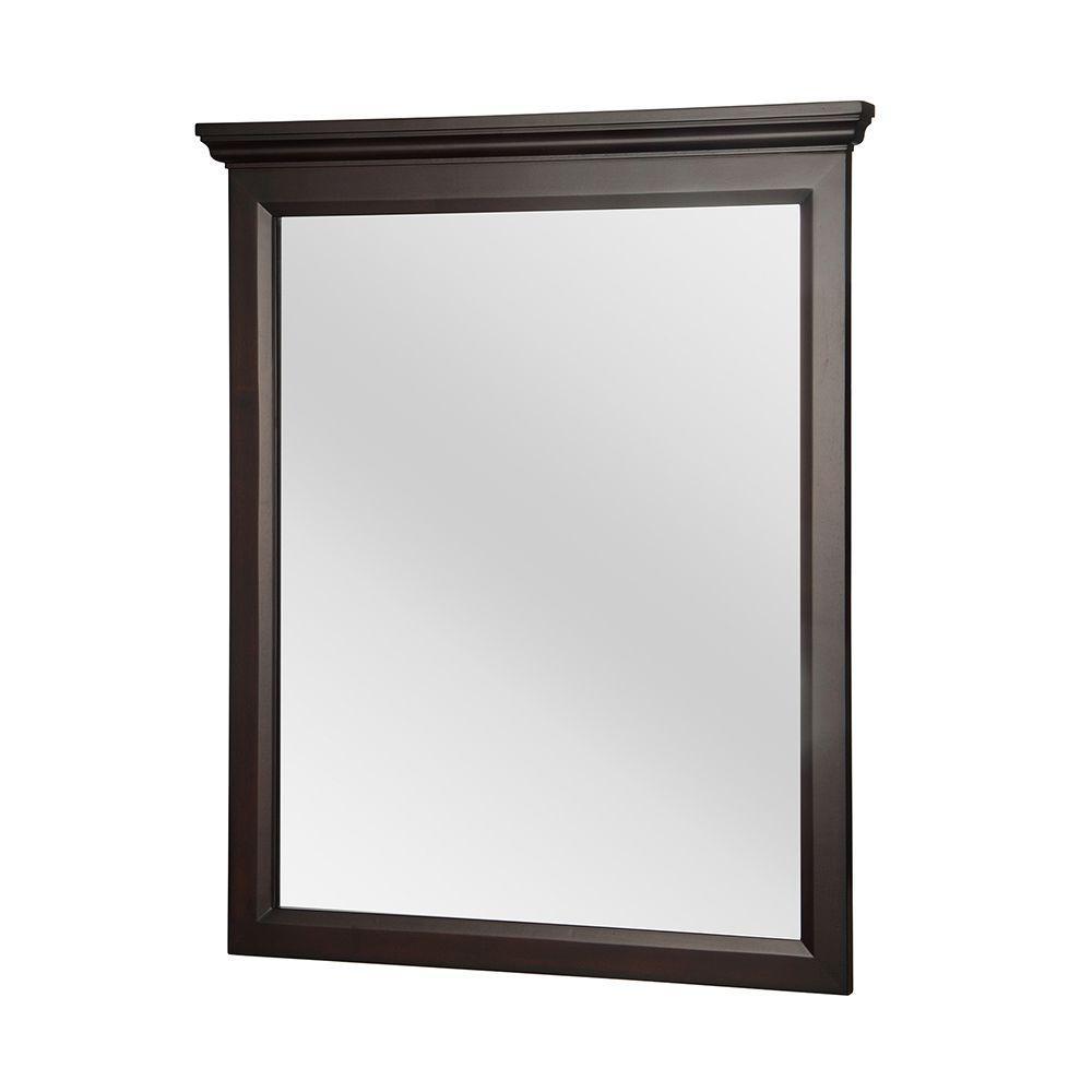 Teagen 29 in. x 34 in. Framed Wall Mirror in Dark Espresso