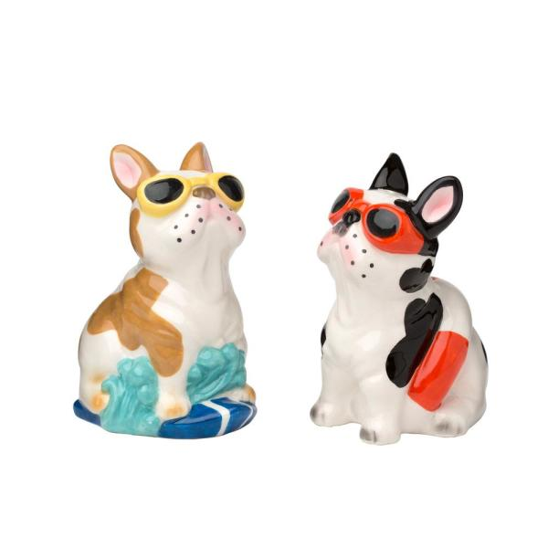 Amici Home Frenchies 3 oz. Multicolor Ceramic Salt and Pepper Shakers