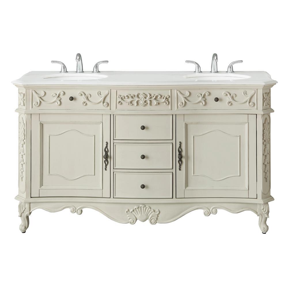 Winslow 60 in. W x 22 in. D Bath Vanity in Antique White with Vanity Top in White Marble with White Basins