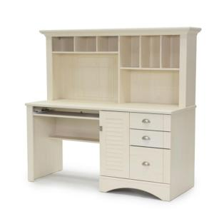 3 Sauder Harbor View Antiqued White Desk With Hutch