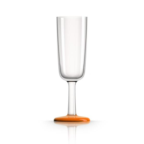 Marc Newson 6 oz. Champagne Flute Tritan with Orange Non-Slip Base