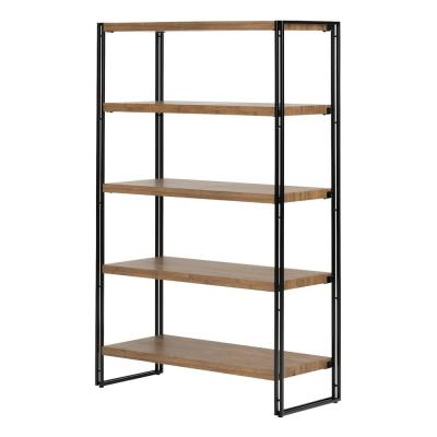 61.5 in. Rustic Bamboo Metal 5-shelf Accent Bookcase with Open Back