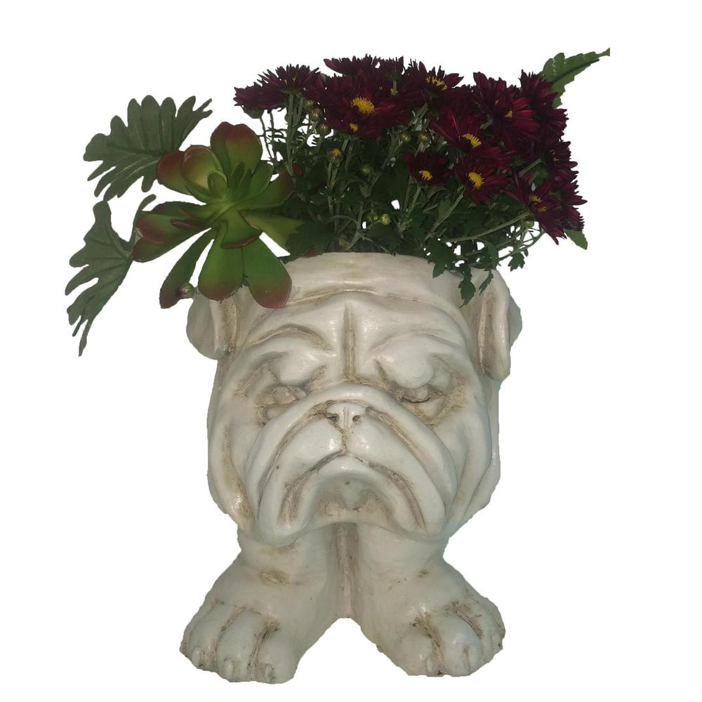 HOMESTYLES 13 in. Antique White Bulldog Muggly Planter Statue Holds 4 in. Pot