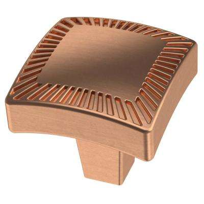 Textured Arched 1-1/8 in. (28 mm) Brushed Copper Square Cabinet Knob