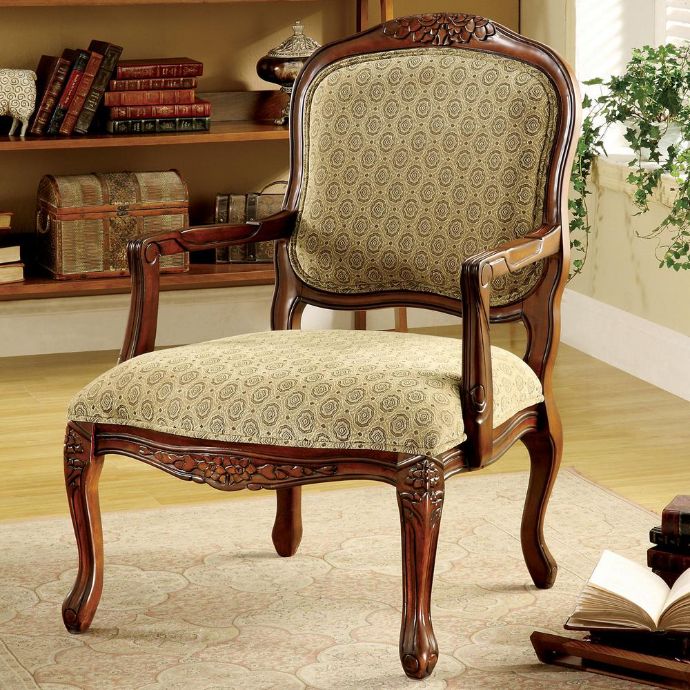 Quintus Antique Oak Fabric Arm Chair - Quintus Antique Oak Fabric Arm Chair-CM-AC6919 - The Home Depot
