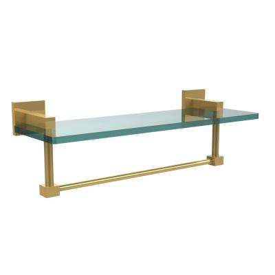 Montero 16 in. L  x 5-1/4 in. H  x 5-3/4 in. W Clear Glass Vanity Bathroom Shelf with Towel Bar in Unlacquered Brass