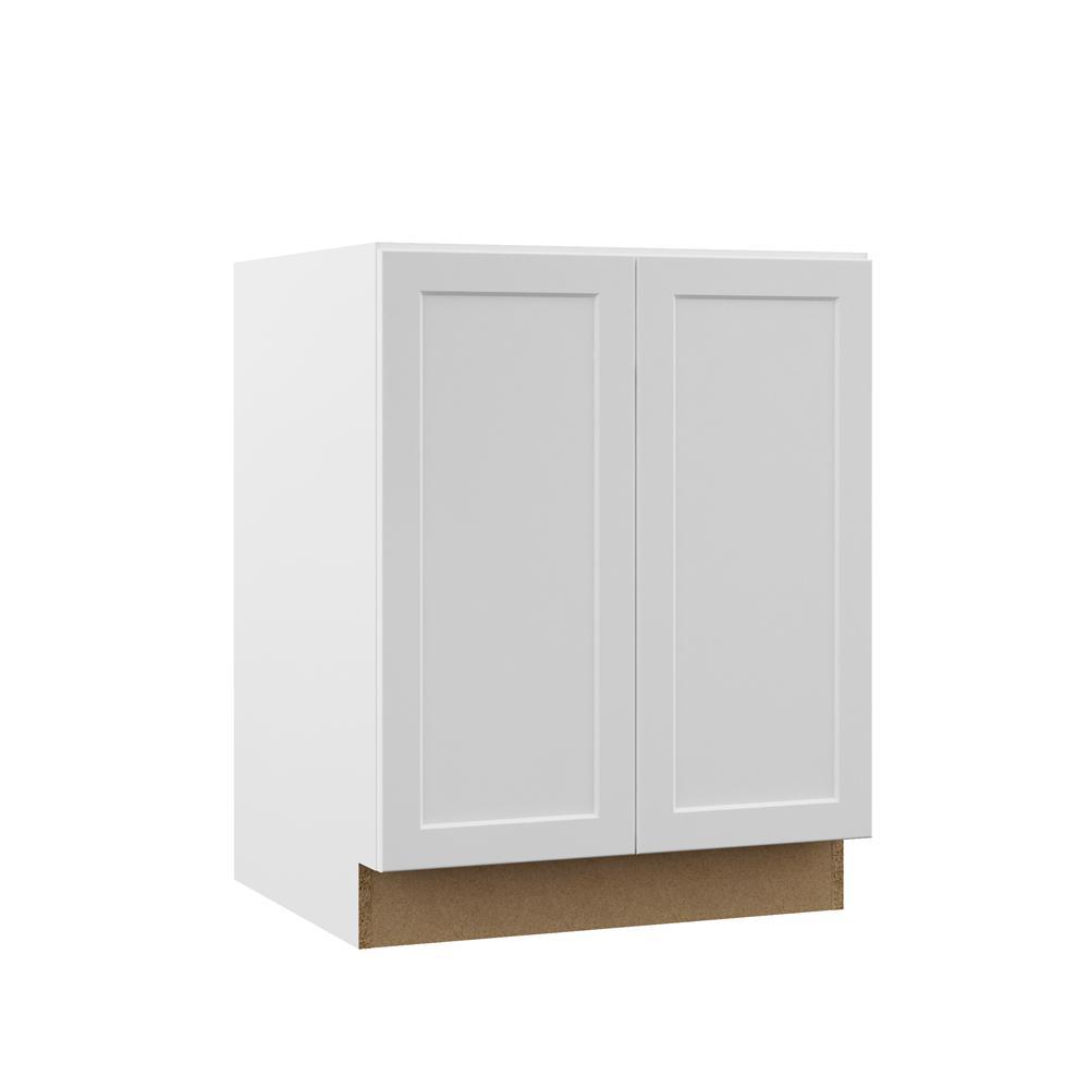 Hampton Bay Designer Series Melvern Assembled 27x34.5x21 in. Full Door Height Bathroom Vanity Base Cabinet in White