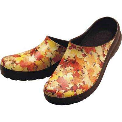 Women's Autumn Leaves Picture Clogs - Size 10