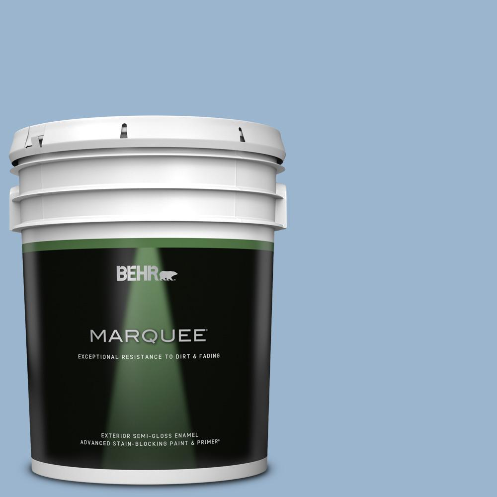 Behr Marquee 5 Gal Ppu14 10 Blue Suede Semi Gloss Enamel Exterior Paint And Primer In One 545405 The Home Depot