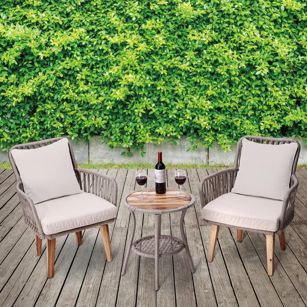 3-Piece Wicker Outdoor Patio Bistro Set with Beige Cushions
