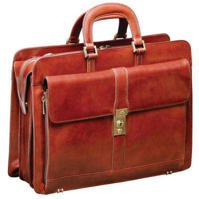 Luxurious Italian Brown Leather Briefcase for 17 in. Laptop
