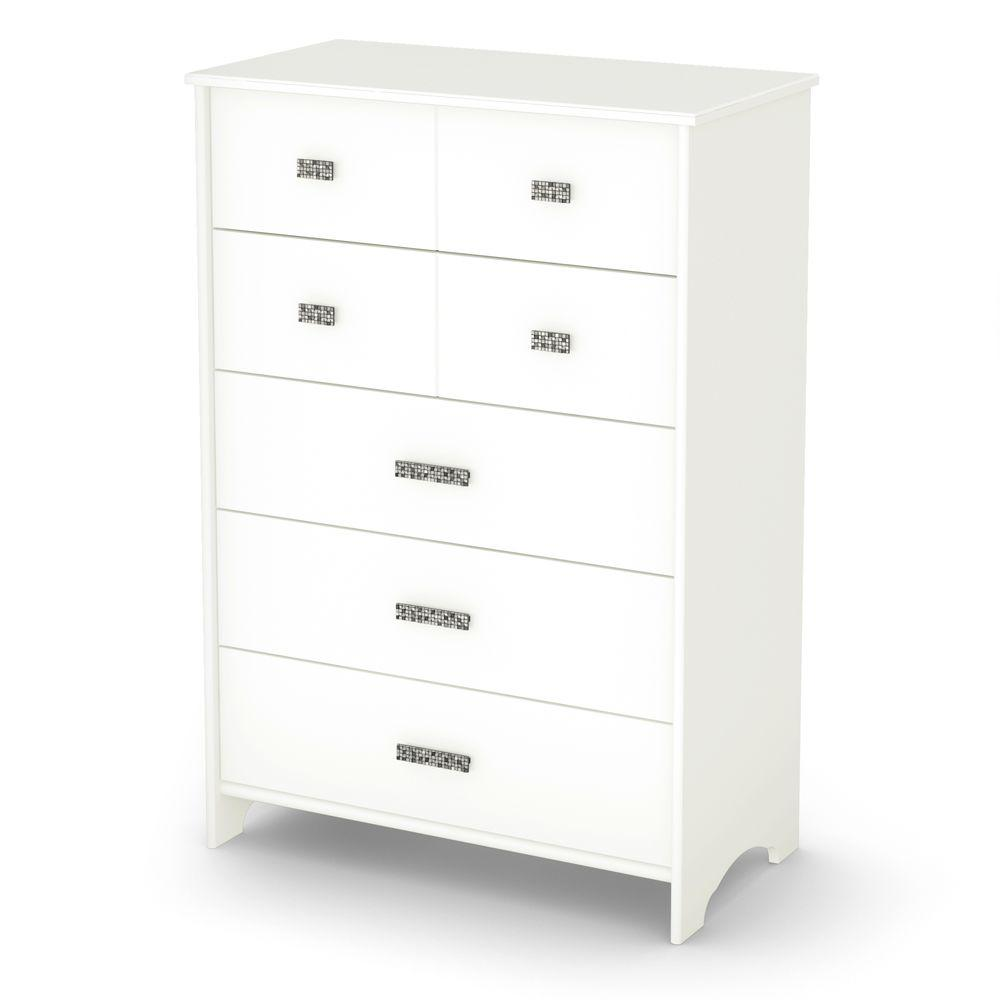 South Shore Tiara 45-1/2 in. x 31-1/2 in. 5-Drawer Chest in Pure White