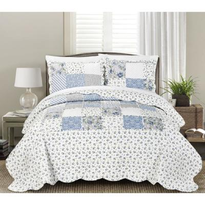 Brenna 3-Piece Blue King Floral Patchwork Quilt Set