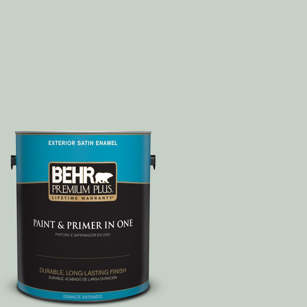BEHR Premium Plus 1-gal. #N400-2 Frosted Sage Satin Enamel Exterior Paint