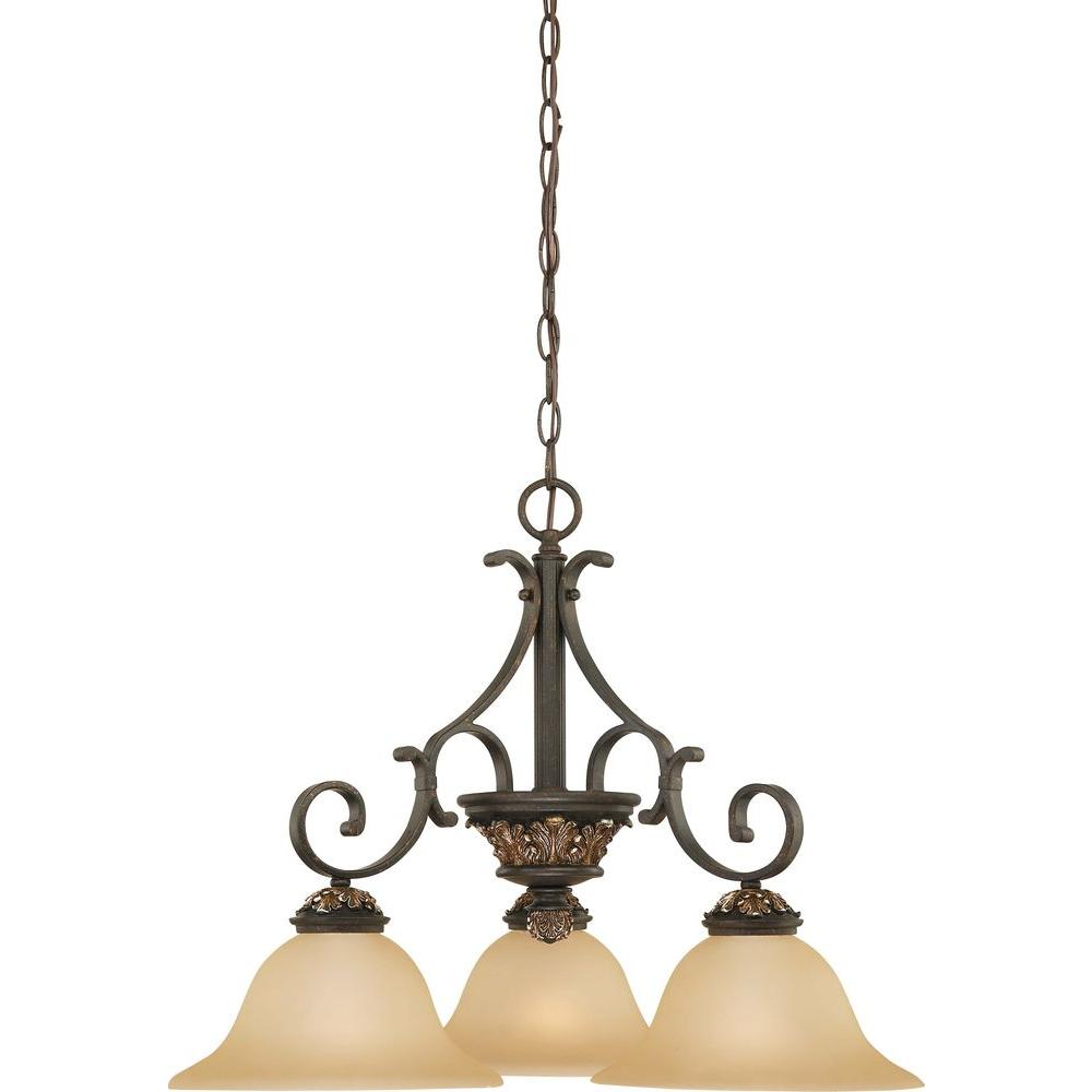 Volume Lighting Bristol 3 Light Vintage Bronze With Antique Gold Chandelier