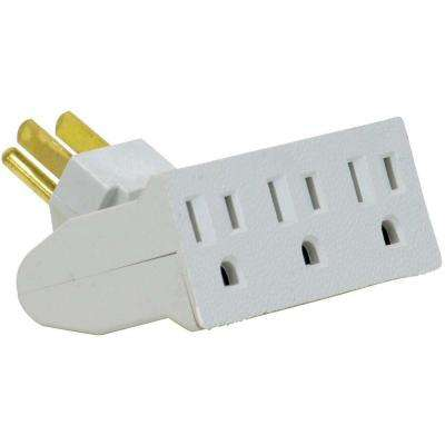 3-Outlet Single Wall Tap Grounded - White