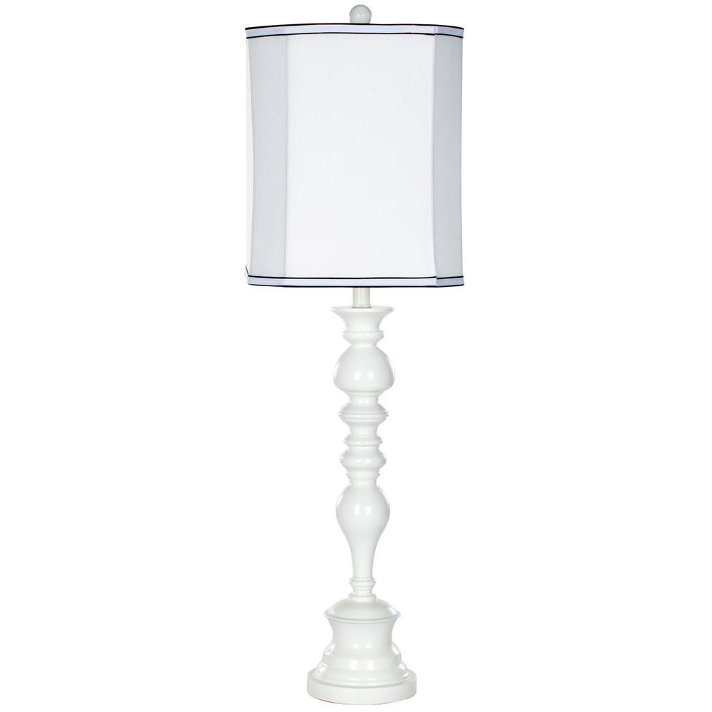 White Candlestick Table Lamp With White Shade