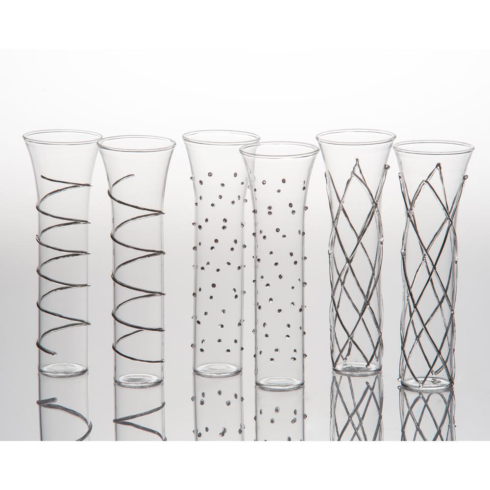 Razzle Dazzle Silver Champagne Glassses (Set of 6)