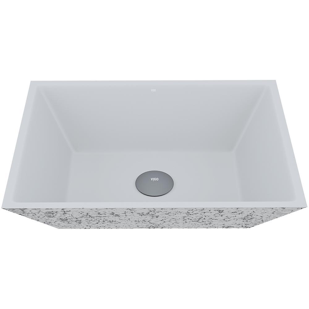 Calendula Concrete Square Vessel Bathroom Sink in Ash