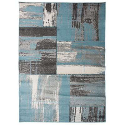 Modern Distressed Geometric Boxes Blue 5 ft. 3 in. x 7 ft. 3 in. Indoor Area Rug