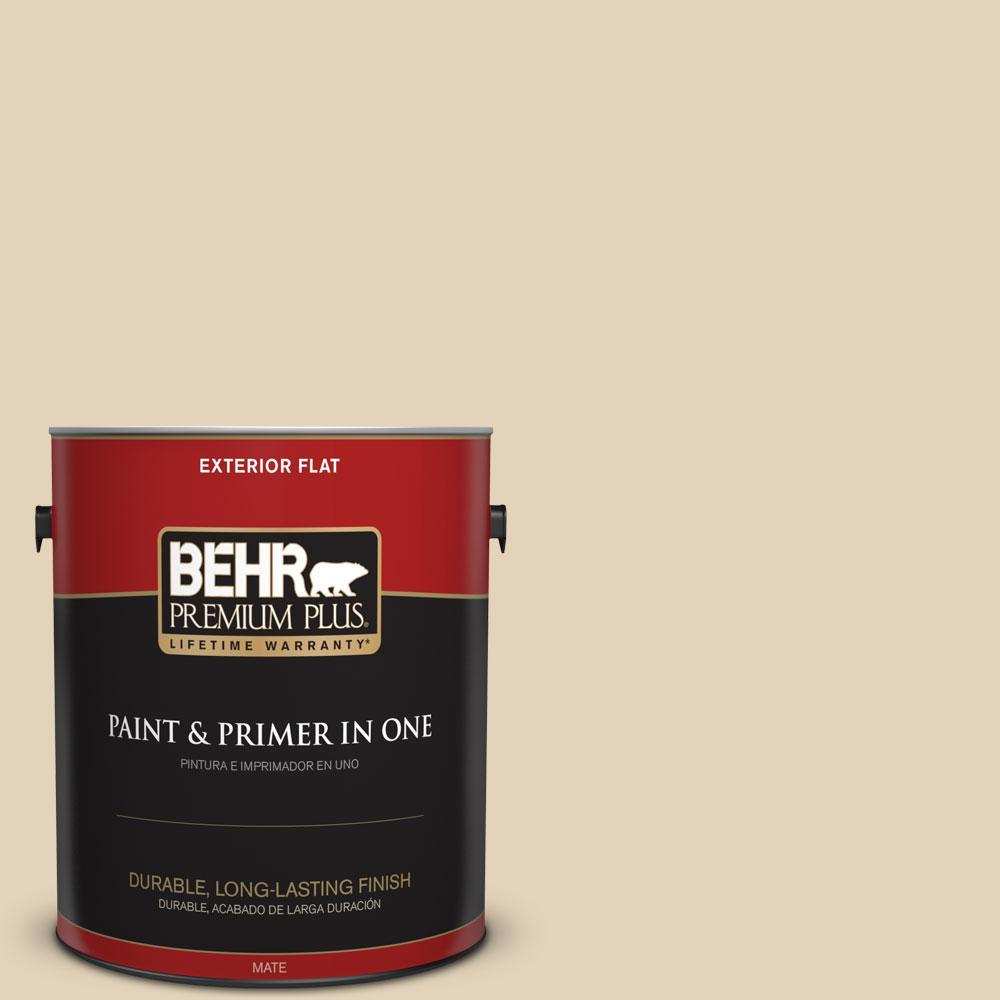 BEHR Premium Plus 1-gal. #BXC-50 Stucco White Flat Exterior Paint