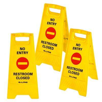 24 in. Yellow 2-Sided Fold-Out No Entry Restroom Closed Sign (3-Pack)