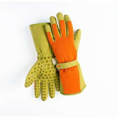 Small Synthetic Leather Utility Garden Gloves with Extended  Forearm Protection Orange