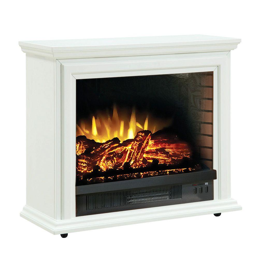 Hampton Bay Derry 32 in. Electric Fireplace in White-DISCONTINUED