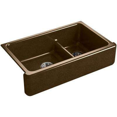 Whitehaven Smart Divide Undermount Farmhouse Apron-Front Cast Iron 36 in. Double Bowl Kitchen Sink in Black 'n Tan
