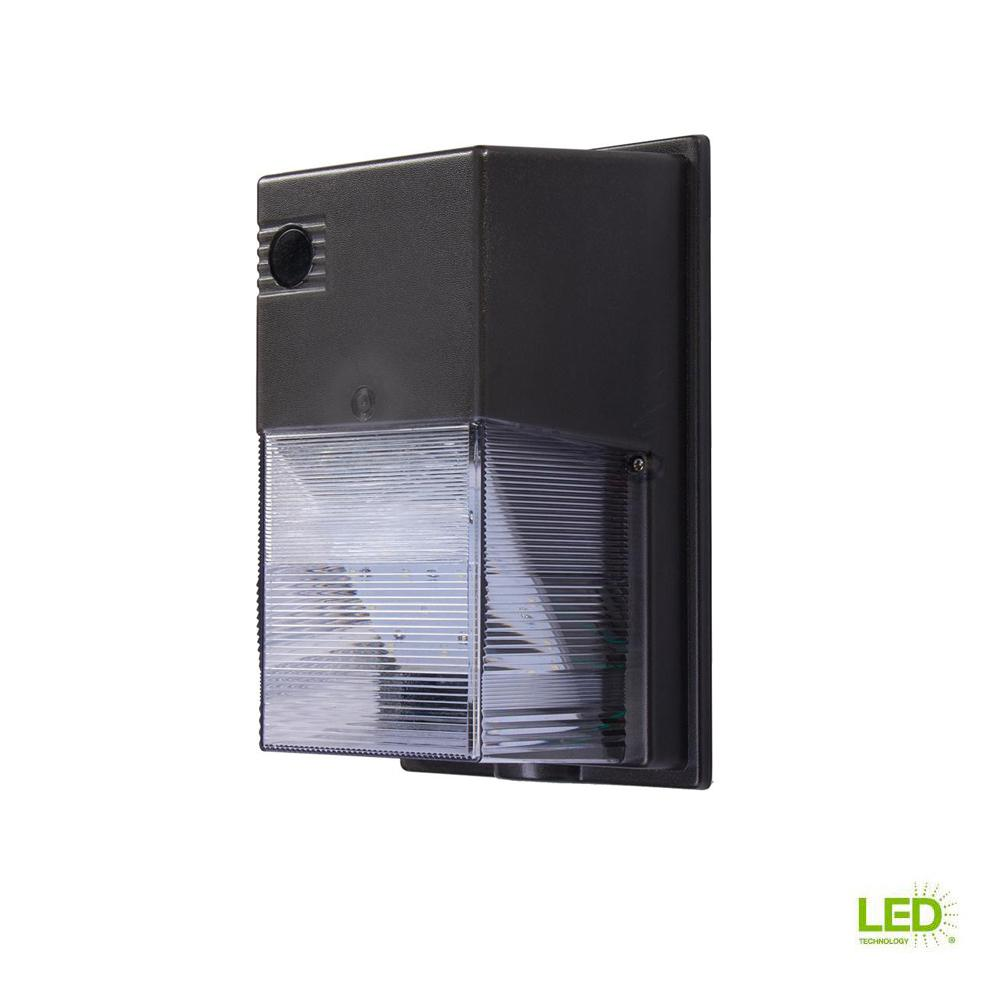 Commercial Electric Bronze Outdoor Integrated LED Wall Pack Light with 2500 Lumens Dusk-to-Dawn and DLC-Rating