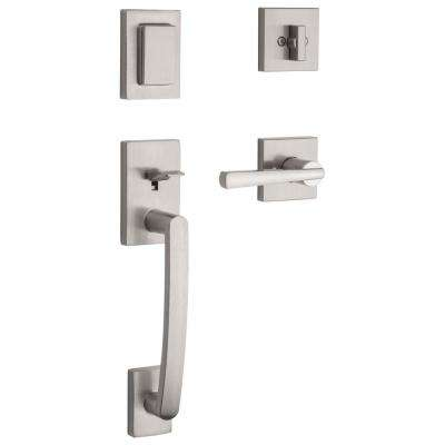 Prestige Spyglass Single Cylinder Satin Nickel Door Handleset with Square Spyglass Door Lever feat SmartKey Security