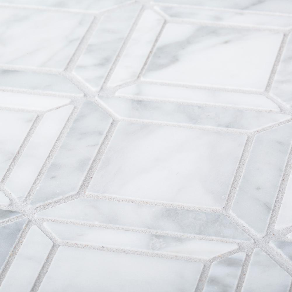 Jeff Lewis Carlyle Carrara White 11-1/8 in. x 11-1/8 in. x 8 mm Geometric Marble Wall and Floor Mosaic Tile