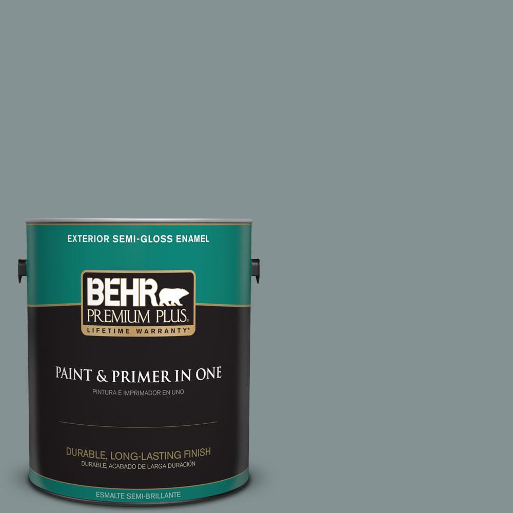 BEHR Premium Plus 1-gal. #ECC-61-3 Evening Fog Semi-Gloss Enamel Exterior Paint