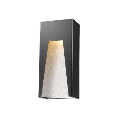 Farran 75-Watt Equivalent Outdoor Black Silver Integrated LED Wall Mount Sconce with Clear Seedy Glass Shade