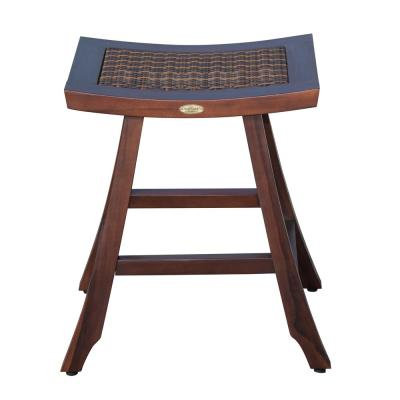 Satori 24 in. H Teak Brown Counter Stool with Indoor Outdoor Viro Rattan