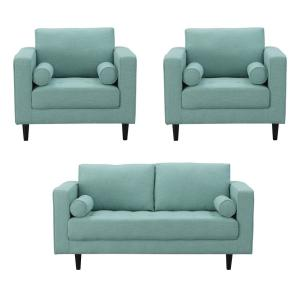 Arthur 3-Piece Mint Green-Blue Tweed 2-Seat Loveseat and 2 Armchairs